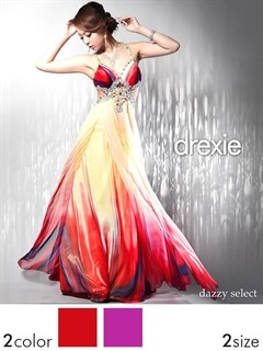 [drexie]ウエスト魅せグラデシフォンAラインキャミロングドレス