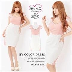 【盛りドレス】[SMLサイズ]刺繍レース切り替えタイトミニドレス[3サイズ展開]