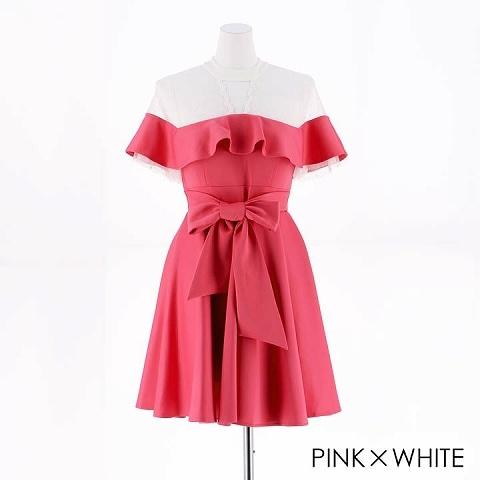[SMLサイズ]ウエストリボンフリルAライン膝丈ドレス[3サイズ展開](ピンク×ホワイト-Sサイズ)