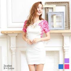 [S~Lサイズ]花柄刺繍付ピュアホワイトレイヤード風タイトミニドレス[5サイズ展開]