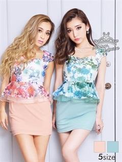 [SMLサイズ]花柄ペプラムミニドレス[3サイズ展開]