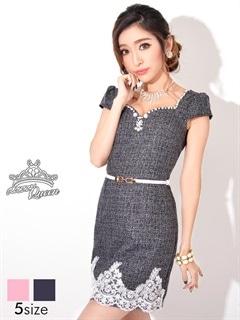 [S~Lサイズ]刺繍レースツイード風清楚系細ベルト付き袖付きタイトミニドレス[5サイズ展開]