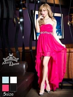 [S~Lサイズ]ビジュー付ワンカラーシンプルベアテールカットロングドレス[5サイズ展開]