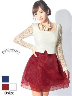 [S~Lサイズ]異素材MIX花柄レース袖付きAラインミニドレス[5サイズ展開]