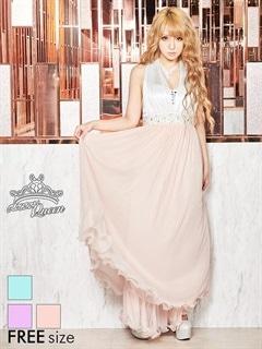 ビジュー付きサテンホルターネックチュールロングドレス