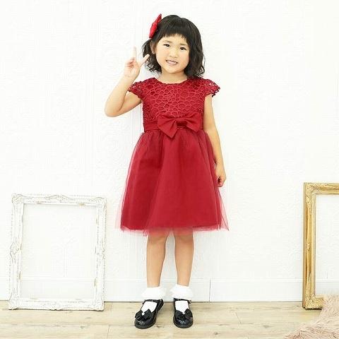 ウエストリボンチュールAラインキッズドレス[3サイズ展開](レッド-110)