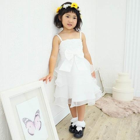 ローズモチーフエレガントチュールAラインキッズドレス[3サイズ展開](ホワイト-110)