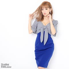 [SMLサイズ]胸下リボンバイカラータイト膝丈ドレス[3サイズ展開]