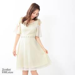 6/3UP[SMLサイズ]アクセサリー付きシフォンAライン膝丈ドレス[3サイズ展開]