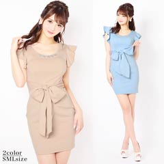 5/29UP[SMLサイズ]ワンカラー胸元ビジューウエストリボンタイトミニドレス[3サイズ展開]