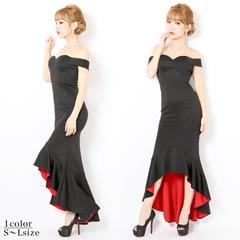 [SMLサイズ]赤×黒フィッシュテールタイトロングドレス[3サイズ展開]