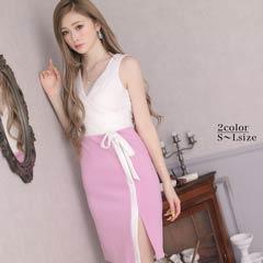 [SMLサイズ]ノースリバイカラーカシュクールタイト膝丈ドレス[3サイズ展開]