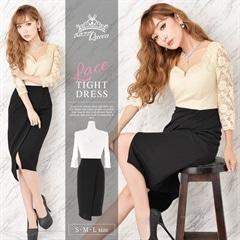 6/20UP[SMLサイズ]透けレースバイカラータイトドレス[3サイズ展開]