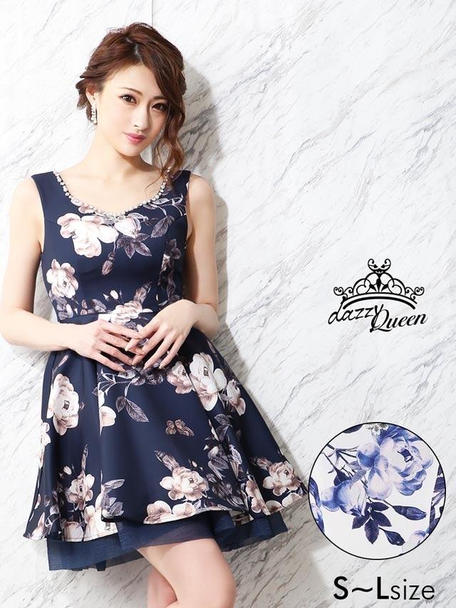 5/28UP[SMLサイズ]flowerプリントオーガンジーAラインフレアミニドレス[3サイズ展開]