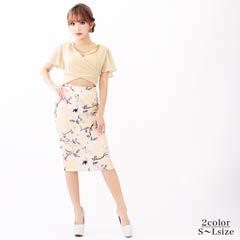 [SMLサイズ]チェーン付フレア袖花柄タイト膝丈ミニドレス[3サイズ展開]