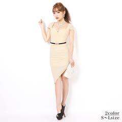 [SMLサイズ]ビジュー付きアシメスカートタイト膝丈ドレス[3サイズ展開]