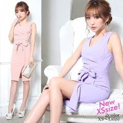 [XS~Lサイズ]ウエストリボンノースリタイト膝丈ドレス[4サイズ展開]