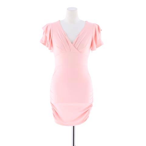 [SMLサイズ]フリル×パフスリーブサイドシャーリングシンプルタイトミニドレス[3サイズ展開](ブルー-S)