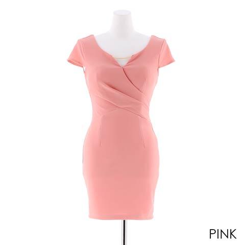 [S~3Lサイズ]ワンカラーカシュクールタイトミニドレス[5サイズ展開](ピンク-S)