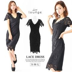 [SMLサイズ]flower刺繍レースタイトドレス[3サイズ展開]