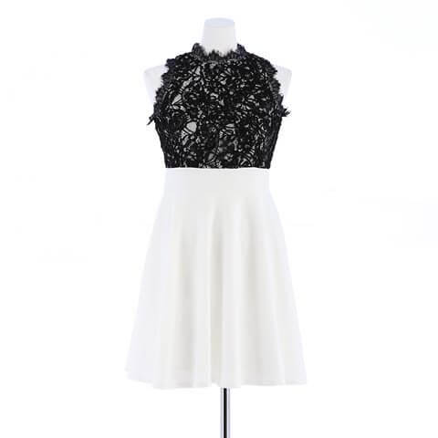 [S~LLサイズ]ブラックレースノースリフレアAラインドレス[4サイズ展開](ブラック×ホワイト-S)