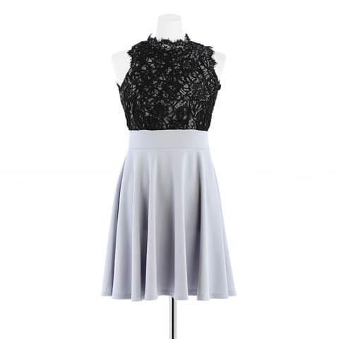 [S~LLサイズ]ブラックレースノースリフレアAラインドレス[4サイズ展開](ブラック×グレー-S)