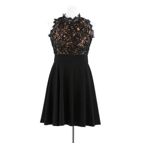 [S~LLサイズ]ブラックレースノースリフレアAラインドレス[4サイズ展開](ブラック×ブラック-S)