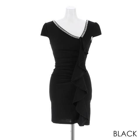 [S~3Lサイズ]パール付きギャザーフリルラインタイトミニドレス[5サイズ展開](ブラック-S)