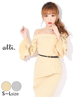 3/16UP[SMLサイズ]ベルト付ワンカラーオフショルxアンブレラスリーブタイトドレス[3サイズ展開]