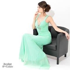 [SMLサイズ]大胆背中開きハート型ビジューマーメイドロングドレス[3サイズ展開]