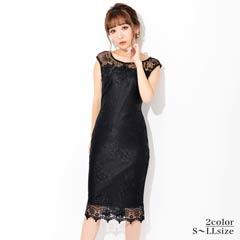 [S~LLサイズ]ブラックレース×ビビッドカラータイト膝丈ドレス[4サイズ展開]