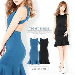 [SMLサイズ]背中開きノースリ裾フリルタイトミニドレス[3サイズ展開]