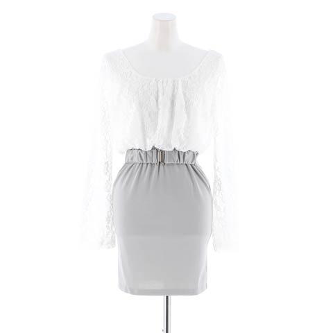 【価格改定】[XS~4Lサイズ]レース切り替えバイカラータイトミニドレス[7サイズ展開](ホワイト×グレー-XS)