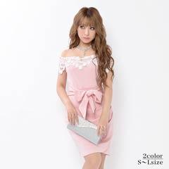 [SMLサイズ]flower刺繍オフショルタイトミニドレス[3サイズ展開]
