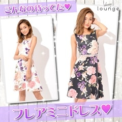 [SMLサイズ]ウエストビジュー付花柄Aラインフレアミニドレス[3サイズ展開]