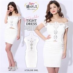 【盛りドレス】[2ピース][SMLサイズ]ビジュー付きオフショルフロントジップタイトミニドレス[3サイズ展開]