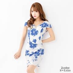 [SMLサイズ][2ピース]flower柄パフスリーブタイトミニドレス[3サイズ展開]