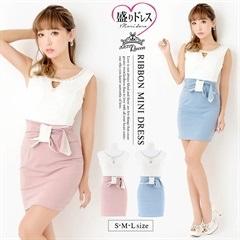 【盛りドレス】[SMLサイズ]バイカラーノースリーブリボン付きタイトミニドレス[3サイズ展開]