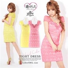 [SMLサイズ]【盛りドレス】谷間透けジャガードタイトミニドレス[3サイズ展開]