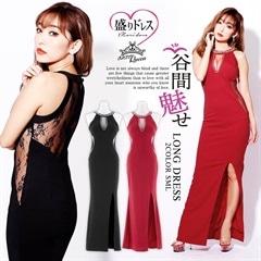 【盛りドレス】[SMLサイズ]スリット入りアメスリロングドレス[3サイズ展開][3/8再入荷]