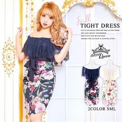 12/3UP[SMLサイズ]オフショルフラワープリントミニタイトドレス[3サイズ展開]