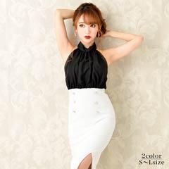 [SMLサイズ]モノトーンシフォンホルタータイトドレス[3サイズ展開][8/21再入荷]