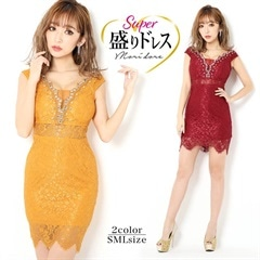 【盛りドレス】[SMLサイズ]ビジュー付き総レースタイトミニドレス[3サイズ展開][8/13再入荷]