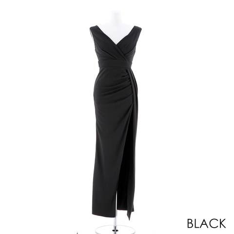 [SMLサイズ]スリット入りワンカラータイトロングドレス[3サイズ展開](ブラック-Sサイズ)