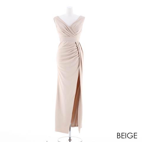 [SMLサイズ]スリット入りワンカラータイトロングドレス[3サイズ展開](ベージュ-Sサイズ)