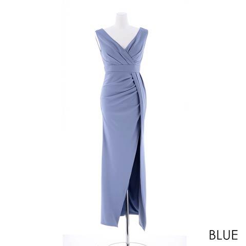 [SMLサイズ]スリット入りワンカラータイトロングドレス[3サイズ展開](ブルー(新色)-Sサイズ)