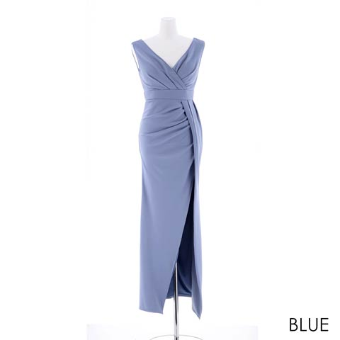 [SMLサイズ]スリット入りワンカラータイトロングドレス[3サイズ展開](ブルー-Sサイズ)