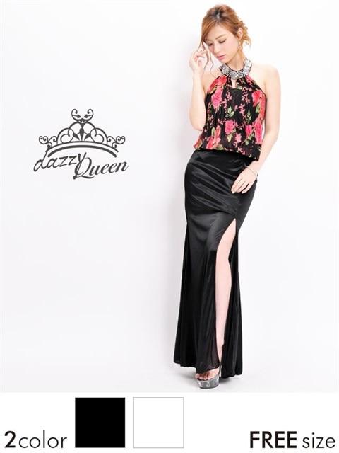 cdc9960dc5514 薔薇柄スリット入りアメスリ風ホルターネックタイトロングドレスの通販は ...