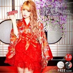 12/3UP◇dazzystore2018花魁◇セットアップ和柄着物風チュールミニドレス