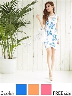 胸元カットアウト水彩フラワー柄ミニドレス